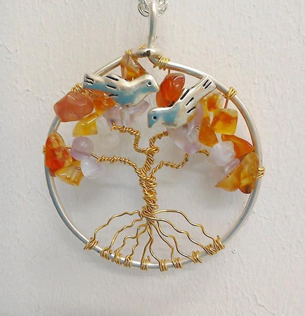 Shamanic Tree of Life Pendant - Amethyst & Carnelian