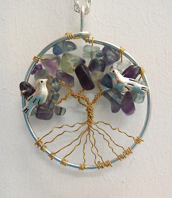 Shamanic Tree of Life Pendant - Rainbow Flourite