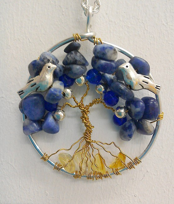 Shamanic Tree of Life Pendant - Sodalite, Citirine & Silver, glass beads