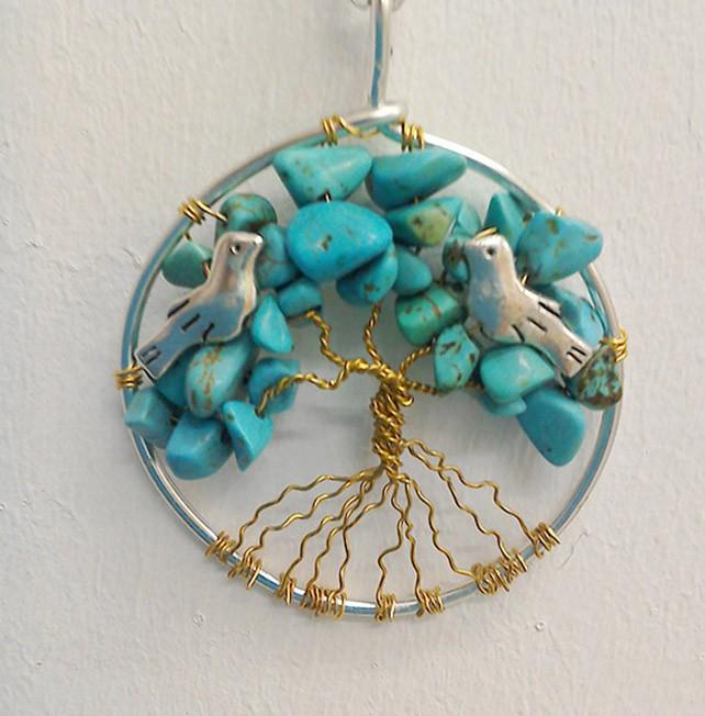 Shamanic Tree of Life Pendant - Turquoise