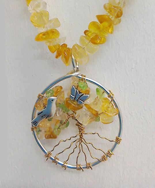 Shamanic Tree of Life Pendant - Citrine & Peridot on Crystal chain