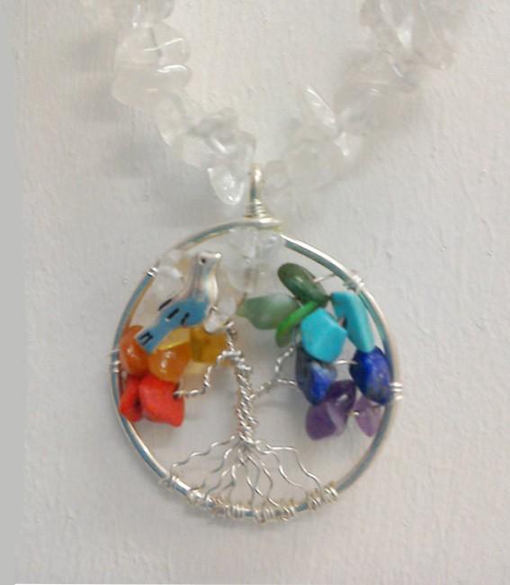 Shamanic Tree of Life Pendant – Mixed Chakra Gemstones on Crystal Chain