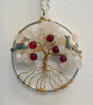 Shamanic Tree of Life Pendant - Rose quartz & Agate beads